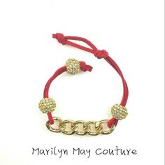 Simple suede link chain bracelet in red suede.