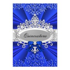 #quinceanera #15thbirthday #princessparty #quinceañera Blue Tiara & Damask Quinceanera Invite Birthday Tiara, 15th Birthday, Happy Birthday, Quinceanera Invitations, Quinceanera Party, Quinceanera Decorations, Quinceanera Dresses, Invitation Cards, Party Invitations
