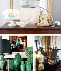 3. Cool collections:    A collection of items showcased together can make a powerful statement. Placing these items around a room can lessen their impact. I am particularly drawn to collections where objects grouped together are the same color but they differ in height and shape, it really adds visual interest.