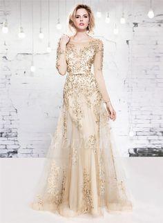 Abendkleider - $204.77 - A-Linie/Princess-Linie U-Ausschnitt Bodenlang Tüll Abendkleid mit Spitze Perlen verziert (0175055968)