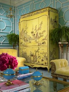 Stunning yellow Chinoiserie armoire