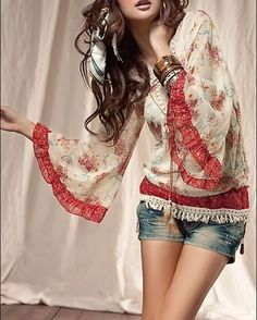 Boho chic peasant top modern hippie jean shorts & gypsy stacked bracelets. For the BEST Bohemian fashion trends   FOLLOW >>> http://www.pinterest.com/happygolicky/the-best-boho-chic-fashion-bohemian-jewelry-gypsy-/ <<< now.