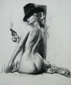 life drawing, pencil, female nude