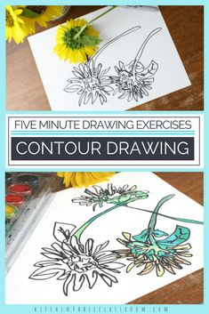 Introduce your kids to the concept of contour drawing with short blind contour line drawing exercises. Contour line drawings teach your kid artists to see! Sgraffito, Artists For Kids, Art For Kids, Blind Contour Drawing, Contour Drawings, Eye Drawings, Realistic Drawings, Kawaii Drawings, Classe D'art