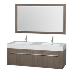 Wyndham Collection - 60 in. Double Bathroom Vanity in Gray Oak, Acrylic, Resin Countertop, Integrated - The bold ultra-modern and visually stunning design of the Axa wall-hung vanity makes a powerful statement while incorporating generous counter space and storage for bath items. The one of a kind styling ensures a high-end look at a very reasonable price and brings an element of contemporary sophistication to a fabulous bathroom remodel. Satin Chrome accents finish the look - it's quite ...