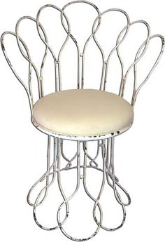 Vintage style wrought-iron Terraza garden #chair in off-white with swivel seat.