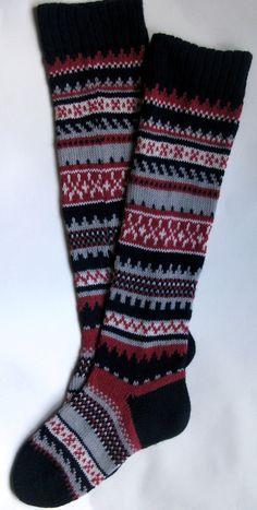 Scandinavian pattern rustic autumn fall knit knee-high dark blue red white wool socks Christmas gift CUSTOM MADE. $45.00, via Etsy.