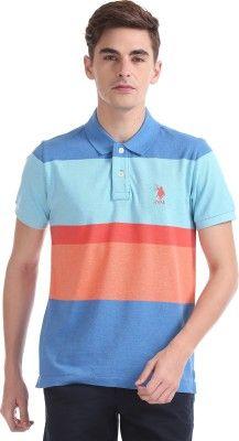 U S Polo Assn Color Block Men Polo Neck Multicolor T Shirt Polo Neck Mens Polo Shirts