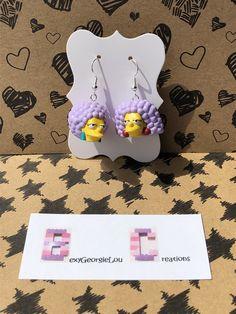 Clay Earrings, Dangle Earrings, Jewellery Earrings, Jewelry, Lego Simpsons, Dinosaur Earrings, Lego Pieces, Organza Gift Bags, Earrings Handmade
