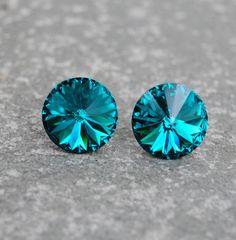 Teal Blue Peacock Crystal Purple Stud Earrings Super Sparklers Jewelry by Mashugana