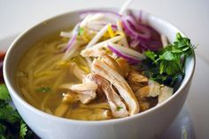 Pho Ga, a recipe from Steamy Kitchen. This chicken soup is a lighter version of beef pho.
