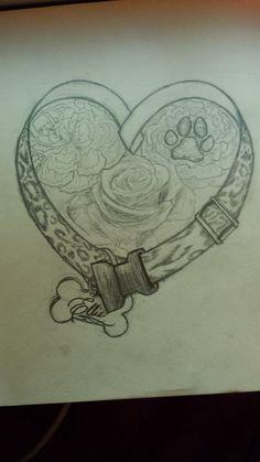 Final Sketch: Dog Memorial Tattoo Design by Nessylov3.deviantart.com on @deviantART
