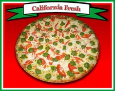 California Fresh Pizza  Ranch dressing, mozzarella cheese, fresh sliced tomatoes, garlic, pesto, & dusted with parmesan cheese
