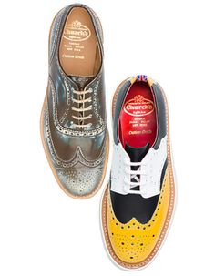 On the left you've got a brogue that looks like you've run through pools of acid just to get that weathered, worn look, on the right, a brogue so colourful it would make Ronald McDonald blush. Both pairs are from the Spring-Summer 2012 Mens Church's collection, by the way, and one th