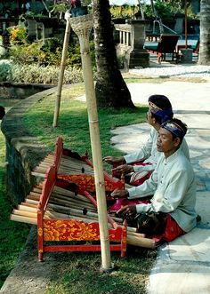 Indonesia - Bali Island - Tanah Lot. Every evening the men set up in a different area of the hotel grounds playing beautiful Balinese music at the Le Meriden Nirwana Resort Tanah Lot hotel.
