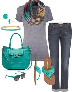 Behold the power of accessories! A basic tee and jeans get dressed up with turquoise accessories and colorful scarf, lending this casual combination just the right amount of sophistication.