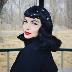 Your place to buy and sell all things handmade Dita Von Teese Wedding, Dita Von Teese Style, Dita Von Teese House, Rockabilly Makeup, Rockabilly Girls, Vintage Veils, Sheer Beauty, Black Veil, Old Hollywood Glamour