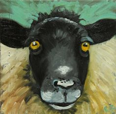 Sheep painting 7 12x12 inch original oil painting by Roz by RozArt, $95.00