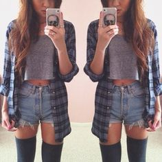 OUTFIT: blue flannel shirt, grey crop top, high-waisted denim shorts, grey over-the-knee socks