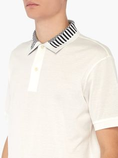 Paul Smith Striped-collar cotton polo shirt Polo Shirt Style, Polo Shirt Design, Mens Polo T Shirts, Shirt Print Design, Mens Tees, Shirt Designs, Collar Styles, Textiles, Paul Smith