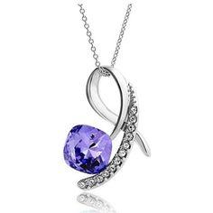 Purple Square Crystal Diamond Pendant Sterling Silver Necklace