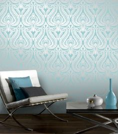 Teal Silver Shimmer Damask Metallic Wallpaper by I Love Wallpaper (2)