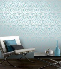 Teal Silver Shimmer Damask Metallic Wallpaper by I Love Wallpaper (2)