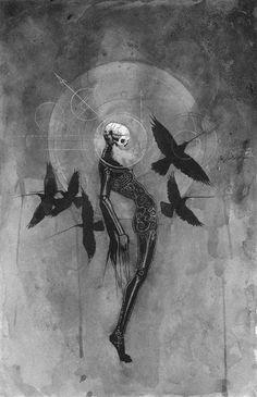 skull / crows / ink / illustration