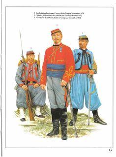 Garibaltian lietenant,Army of the Vosges,November 1870.2:Colonel,Volontaires de l'Ouest (ex-Zouves Pontificaux).3:Volontaire de l'Ouest,Battle of Loigny,2 December 1870.