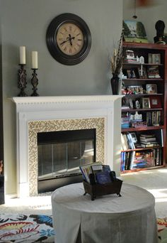 Fireplace- could put a tall bookcase on one side to break-up paint pattern.