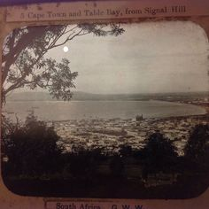 Magic Lantern Slide Cape Town & Signal Bay Signal Hill South Africa History