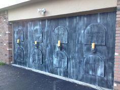 Cool idea for your garage door! Eerie Acres Cemetery 2013 is almost done - HauntForum
