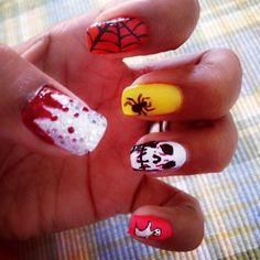 Colorful Halloween nail arts