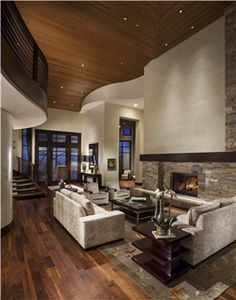 Winner of the 2013 BALA Award for One-of-a-Kind Home over 6501 sq ft, Goss Residence, Park City, UT; Architect: Upwall Design Builder: Magleby Construction Interior Designer: Leslie Schofield Developer: The Colony; Ski home; Modern mountain architecture; natural appearance; hill vistas; stone exterior; wood interior; modern interior
