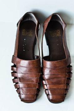 Vintage Brown Huarache Sandals