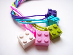 Set of 5 Adjustable LEGO Necklace Party Favors Bright Colors, LEGO Friends Birthday, LEGO Friends Party, Girls Lego Party Favor Necklaces