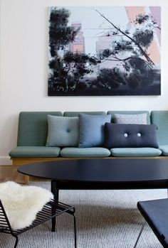 Steel cut cushions from Hay. Nice blue, green, grey colours... sophisticated luxury