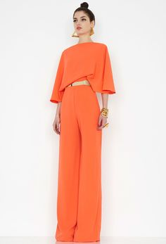 Aqua by Aqua, Seiber Orange Backless Jumpsuit