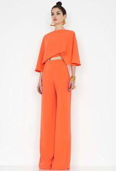 Aqua by Aqua, Seiber Orange Backless Jumpsuit