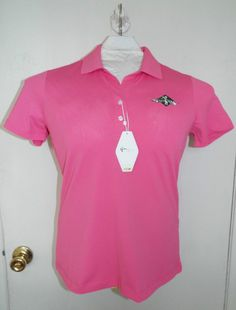 NEW NWT Greg Norman Play Dry womens polo rose size medium s/s golf athletic