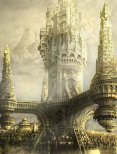 Image uploaded by nicole. Find images and videos about art, illustration and fantasy on We Heart It - the app to get lost in what you love. Fantasy City, Fantasy Castle, Fantasy Places, Fantasy Kunst, Sci Fi Fantasy, Fantasy World, Fantasy Concept Art, Fantasy Artwork, Animation 3d