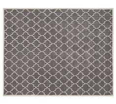 DINING ROOM RUG- COULD ALS HAVE MATCHING BUT SMALLER SIZES NEAR CHAIRS BY ENTRY AND WELL AS THE ENTRY WAY- Jali Geo Tufted Rug - Gray | Pottery Barn