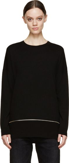 McQ Alexander McQueen Black Knit Zip-Hem Sweater
