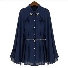 2cd38673d25 Details about New Women Top Chic Stylish Cape Style Design Single-breasted Chiffon  Blouse Cool