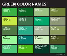 green color names NGO interior in 2019 Green color names green color names list - Green Things Brown Color Names, Colour Names List, Green Colour Palette, Green Colors, Color Shades, Shades Of Green, Green Colour Images, Color Pictures, Color Mixing Chart