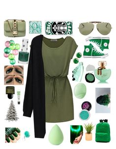 """☘Green ☘"" by candyfrost ❤ liked on Polyvore featuring Ray-Ban, Valentino, Converse, DENY Designs, Samsung, Fatboy, NIKE, Vans, Artic Fox and Topshop"