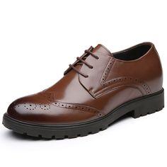 TopoutShoes - SKU:MEN_00218_02 - Brogue Calf Leather Dress Shoes for Men altitude 7cm / 2.8inch brown Wedding Elevator Shoes