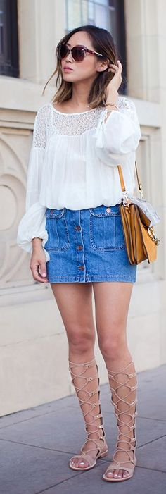 Lace Denim And Gladiators Summer Style by Song Of style