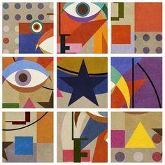 Bowie Bauhaus Squares - David Bowie Portrait, 2016 - 20, 23.5 & 30 inch Square Editions - Big Fat Arts | BFA Gallery | Czar Catstick - 1