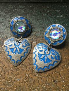 Retro Blue Heart Dangle Pierced Earrings Boho by JewellsBoutique